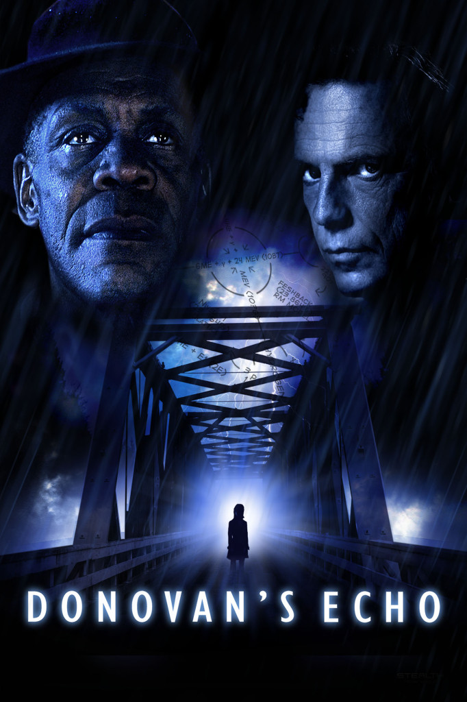 Donovan's Echo Film Poster featuring an eerie image of a figure on a bridge plus danny glover