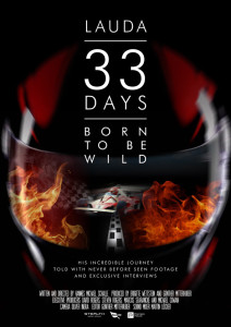 Lauda film poster featuring a close up of a formula one racing helmet with Niki Lauda's Maclaren on fire reflected in the visor