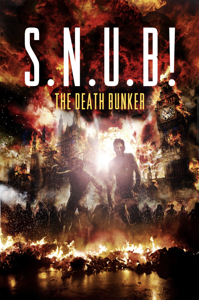 S.N.U.B film poster featuring an apocalyptic image of London on fire and zombie figures.