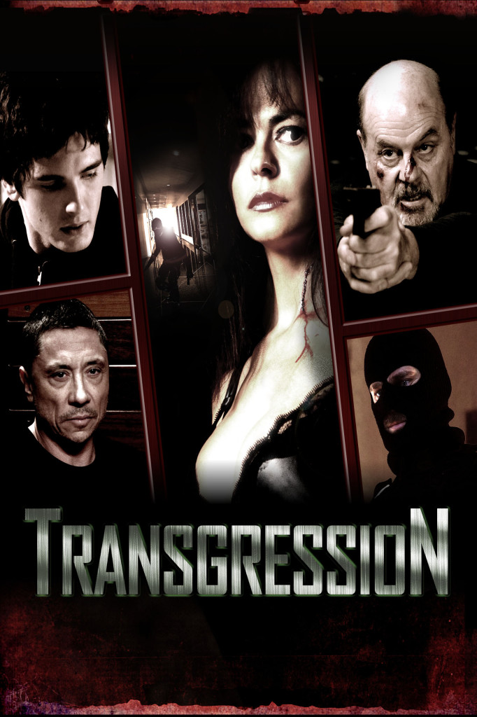 Transgression Film Poster featuring a grid of images of the film's characters including a bloodied man pointing a gun and a man in a balaclava.